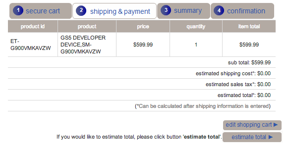 galaxy s5 developer edition price